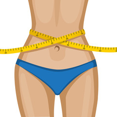 Women's waist with a measuring tape