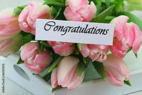 Fotobehang Tulp Congratulations card with pink tulips