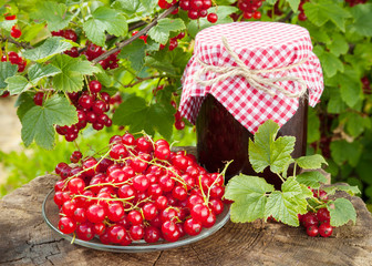 red currants and jar of jam