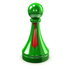 Illustration of green pawn with red tie
