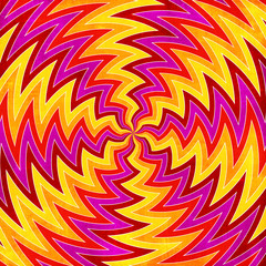 Sunburst rays of red, yellow, orange and pink swirls background