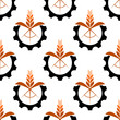 Wheat stalk and gear wheel seamless pattern