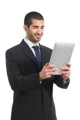 Arab businessman working reading a tablet ereader