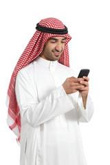 Arab saudi emirates happy man using a smart phone