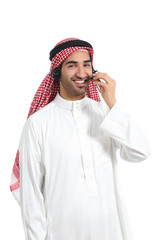 Arab saudi operator man working with headset on the phone
