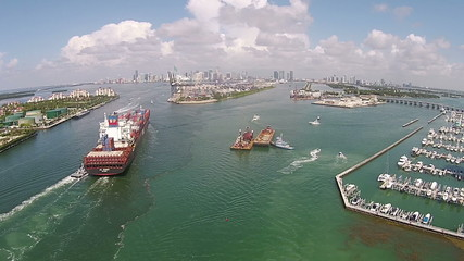 Ship entering the Port of Miami aerial view