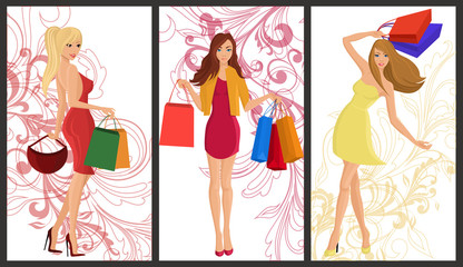 Shopping girl banner