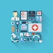 Abstract medicine background with flat colored icons