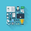 Abstract education background with flat colored icons