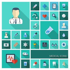 Vector flat colored medicine icons with long shadows