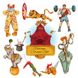 Circus vintage colored icons set - 66587453