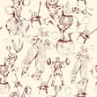 Circus doodle sketch seamless pattern - 66587460