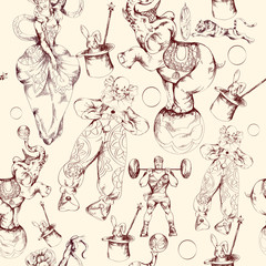 Circus doodle sketch seamless pattern