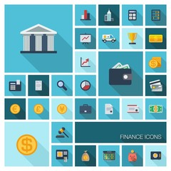 Vector flat colored icons with long shadows. Finance
