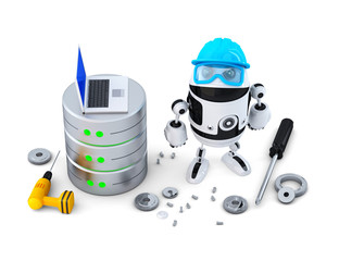 Robot with database. Technology concept. Isolated. Clipping path