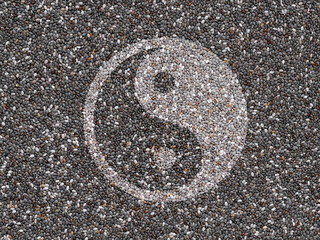 Chia seeds with Yin yang symbol