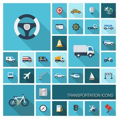 Vector flat colored icons with long shadows. Transportation