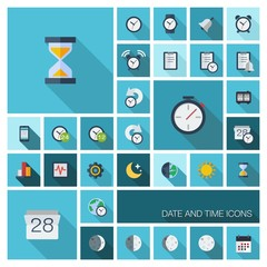 Date and time flat colored icons with long shadows
