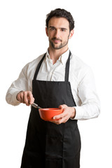 Male Cooker With Apron Smiling