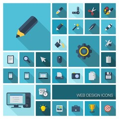 Vector flat colored graphic tools icons with long shadow