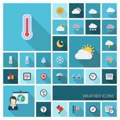 Vector flat colored meteo icons with long shadow