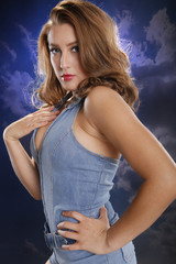 Blue pinup style