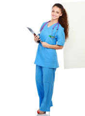 Portrait of young doctor or medic with folder and stethoscope