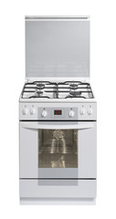 White free standing cooker isolated with clipping path