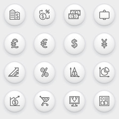 Finance icons with white buttons on gray background.