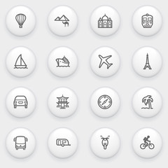 Travel icons with white buttons on gray background.
