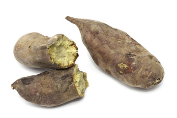 Fired sweet potato isolated on the white background