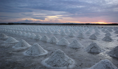 sunset over the salt farm