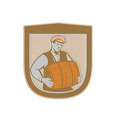 Metallic Bartender Carrying Keg Shield Retro