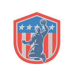 Metallic American Basketball Player Dunk Rear Shield Retro