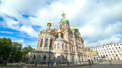 Church on the Spilled Blood. St. Petersburg. Russia. timelapse