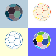 stylish soccer ball collection - vector illustration