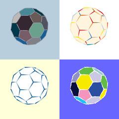 stylish soccer ball collection - vector illustration