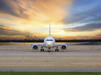 passenger jet plane parking on airport runways use for business
