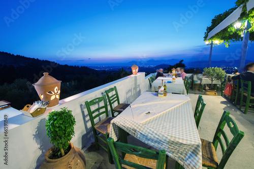 KOS, GREECE - JUNE 6, 2014: Restaurant view at night in Zia vill