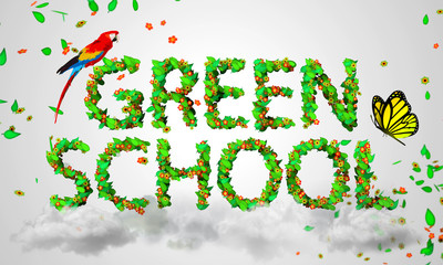 Green School leaves particles 3D