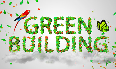 Green Building leaves particles 3D