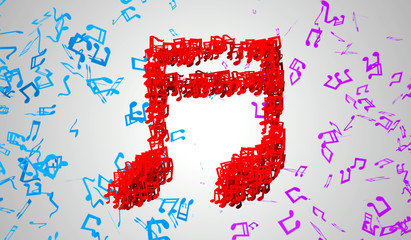 Red Musical Note Particles 3D