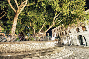 Hippocrates plane tree in Kos Island at night, Greece