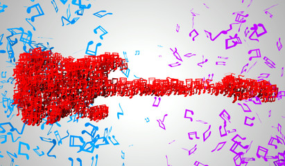Electric Guitar Musical Note Particles 3D