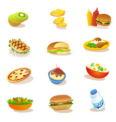 set of healthy food illustrations