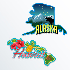 Alaska Hawaii retro state facts illustrations