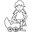 girl and pram - coloring book
