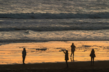 people at Muriwai beach at  sunset