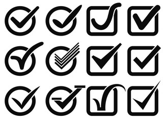 black check mark button icons
