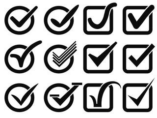 black check mark button icons